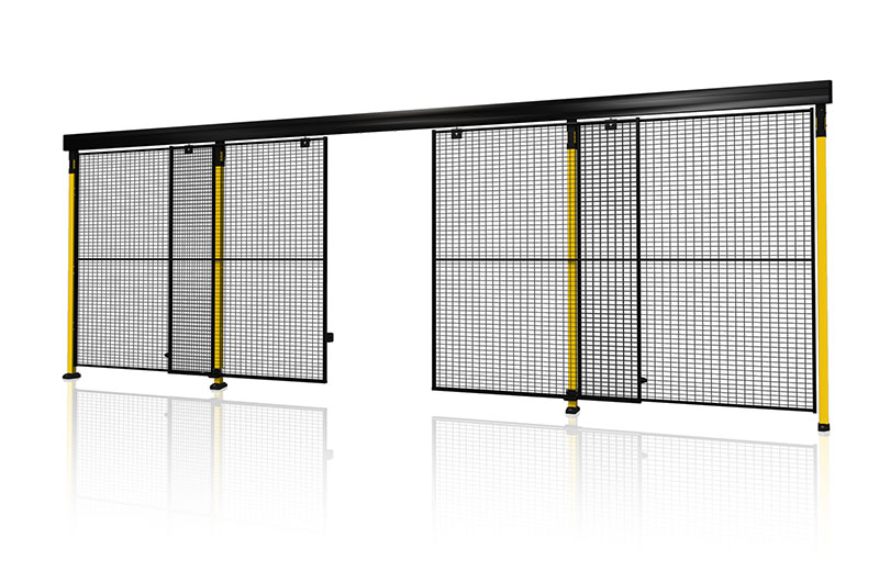 Sliding door with centre locking