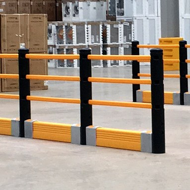 Pedestrian barrier system with crash barrier